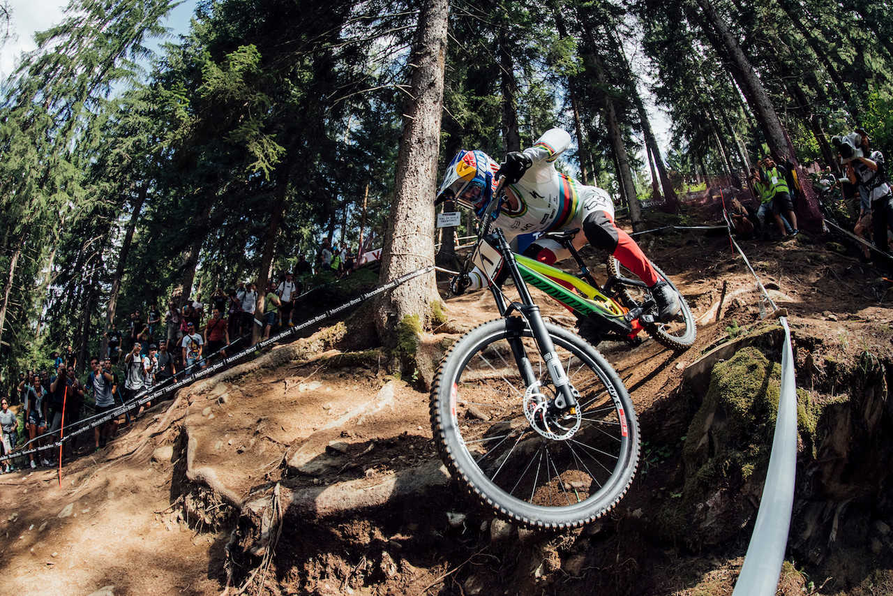 Loic Bruni performs at UCI DH World Cup in Val di Sole, Italy on August 3rd, 2019