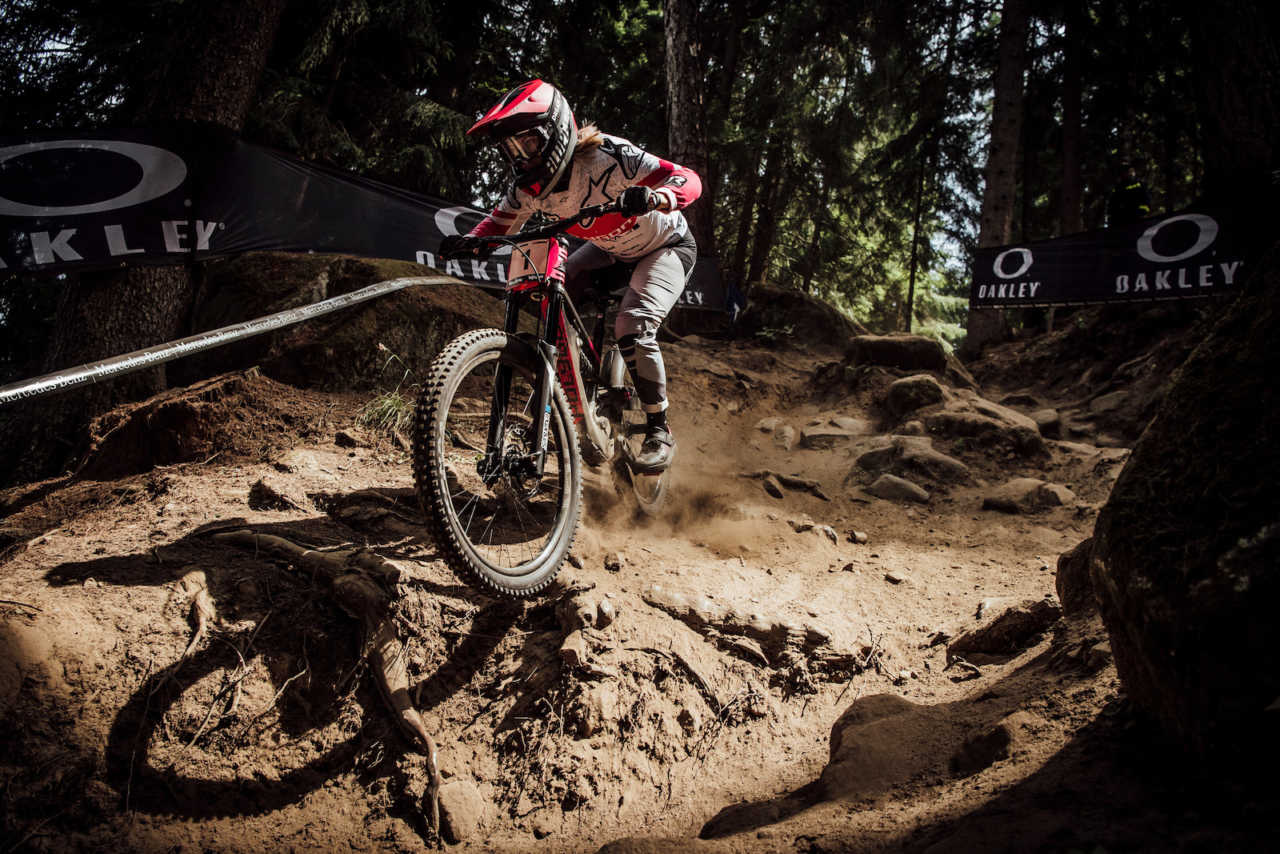 Tracey Hannah performs at UCI DH World Cup in Val di Sole, Italy on August 3rd, 2019