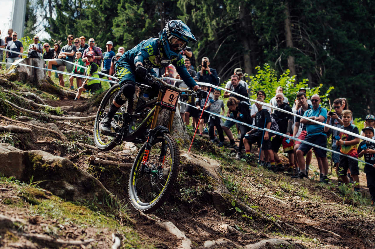 Emilie Siegenthaler performs at UCI DH World Cup in Val di Sole, Italy on August 3rd, 2019