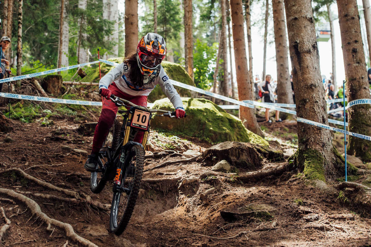 Camille Balanche performs at UCI DH World Cup in Val di Sole, Italy on August 3rd, 2019