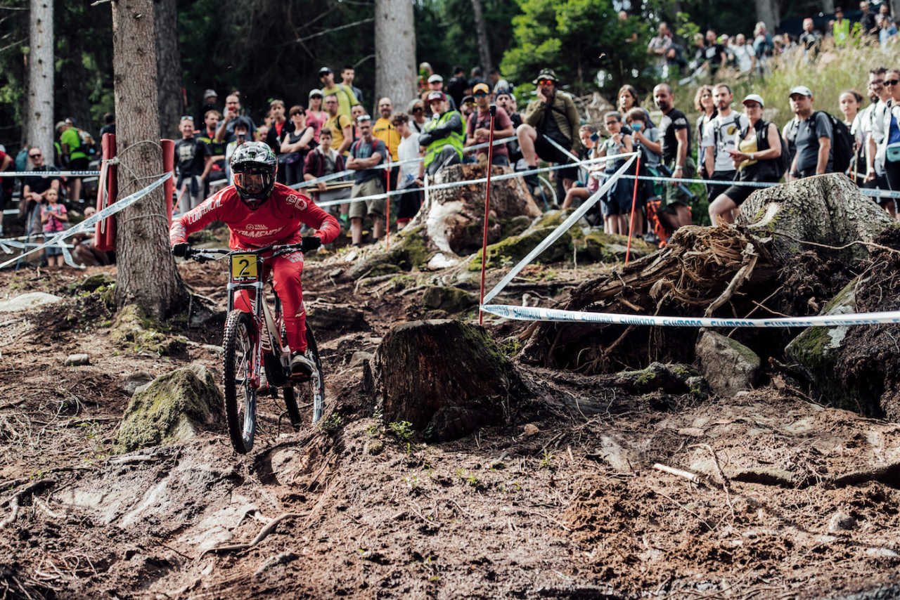 Amaury Pierron performs at UCI DH World Cup in Val di Sole, Italy on August 3rd, 2019