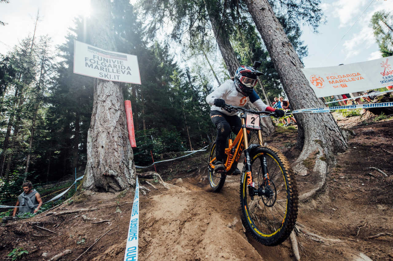 Marine Cabirou performs at UCI DH World Cup in Val di Sole, Italy on August 3rd, 2019