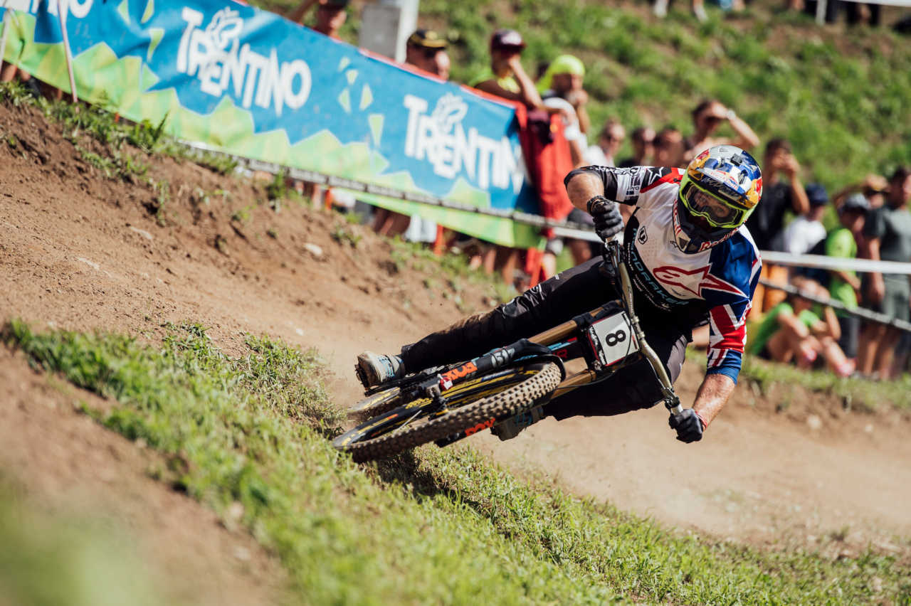 Brook Macdonald performs at UCI DH World Cup in Val di Sole, Italy on August 3rd, 2019