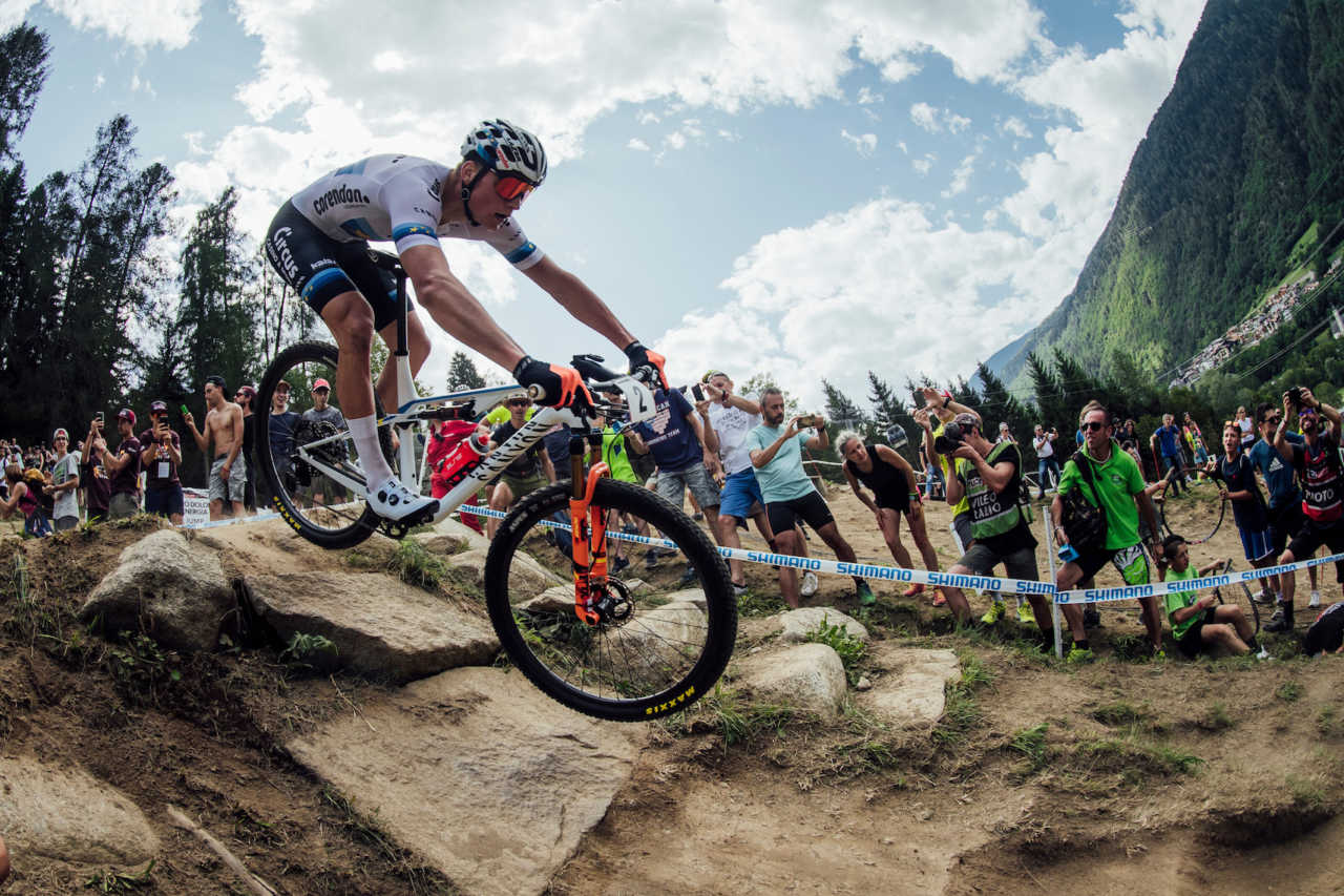 Mathieu van der Poel performs at UCI XCO World Cup in Val di Sole, Italy on August 4th, 2019
