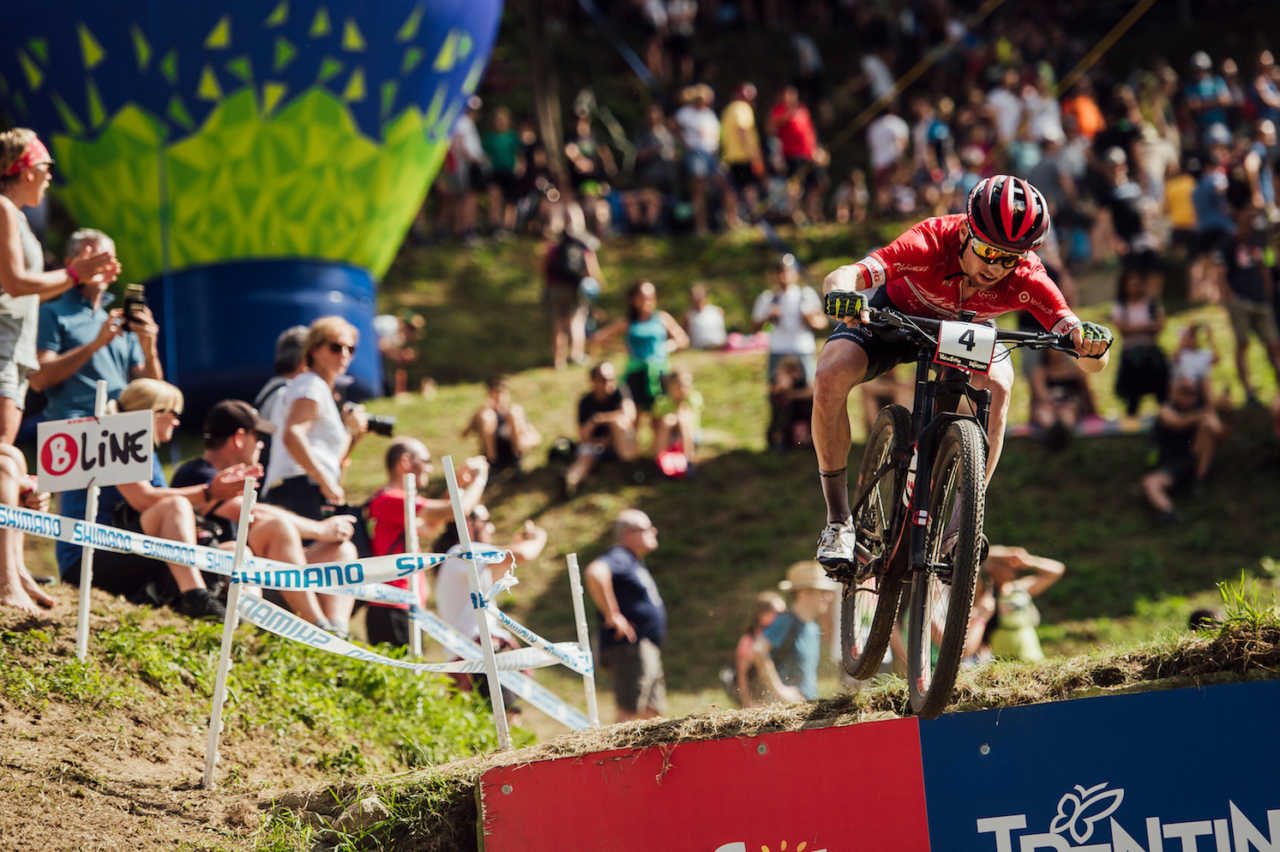 Matthias Flueckiger performs at UCI XCO World Cup in Val di Sole, Italy on August 4th, 2019