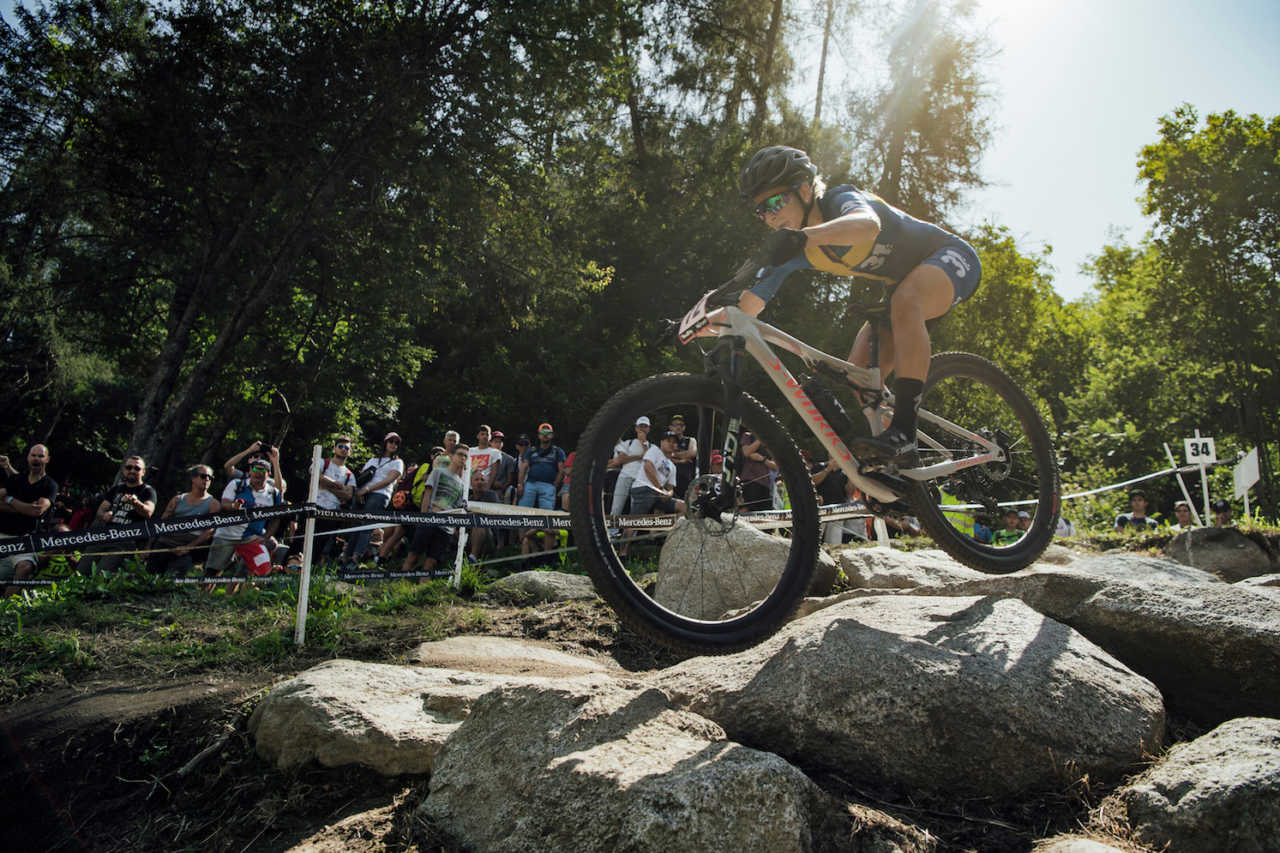 Jenny Rissveds performs at UCI XCO World Cup in Val di Sole, Italy on August 4th, 2019