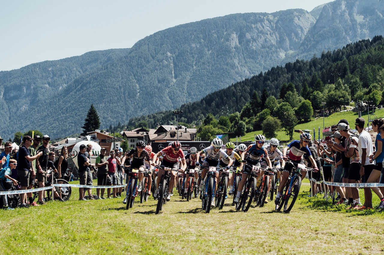Competitors perform at UCI XCO World Cup in Val di Sole, Italy on August 4th, 2019//