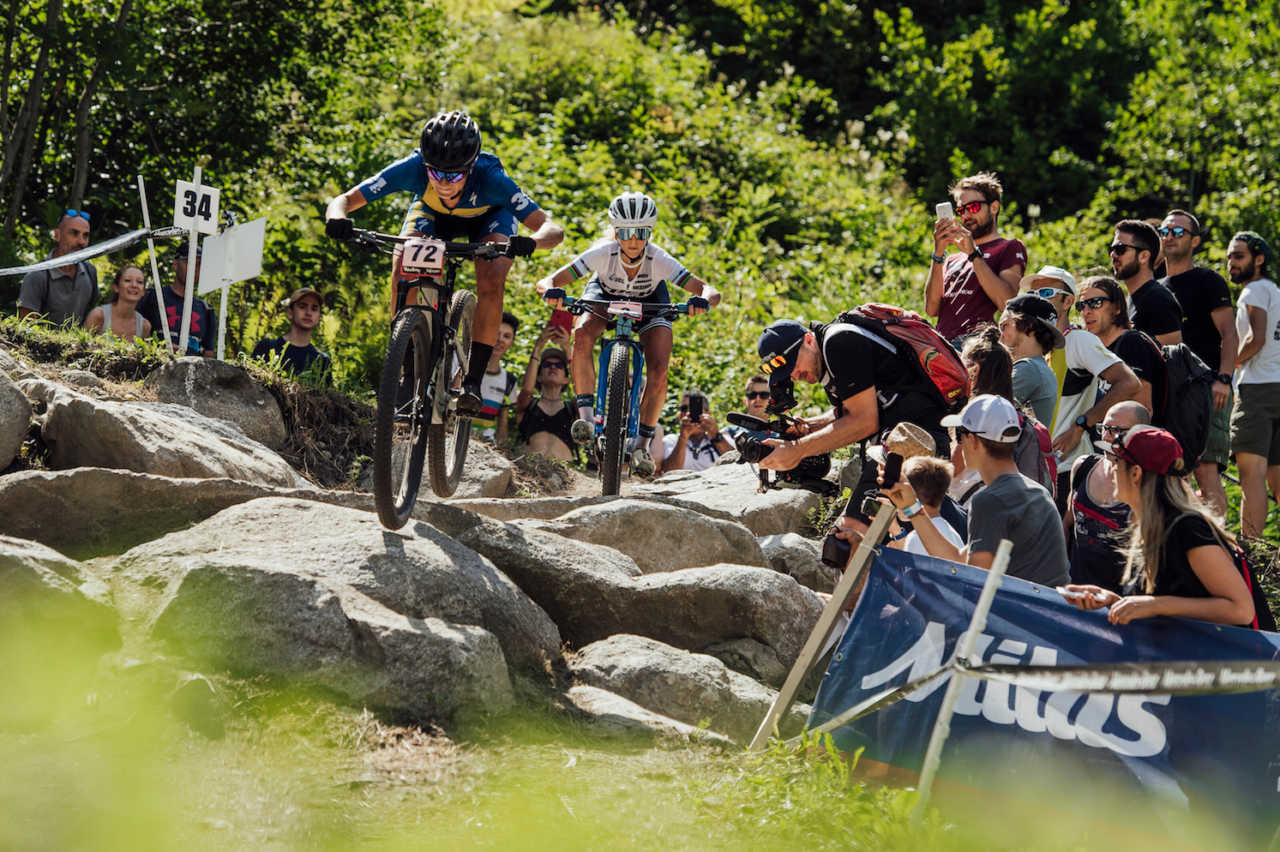 Jenny Rissveds and Jolanda Neff perform at UCI XCO World Cup in Val di Sole, Italy on August 4th, 2019