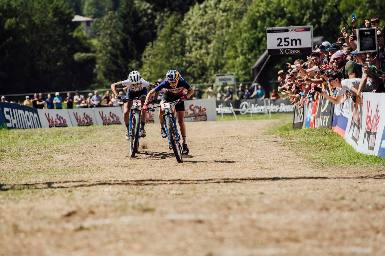 Jolanda Neff and Pauline Ferrand Prevot perform at UCI XCO World Cup in Val di Sole, Italy on August 4th, 2019