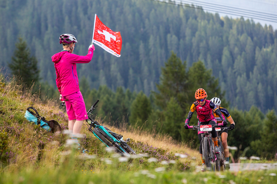 Riders during Stage 5 of the 2019 Swiss Epic from Lenzerheide to Davos, Graubünden, Switzerland on 24 August 2019