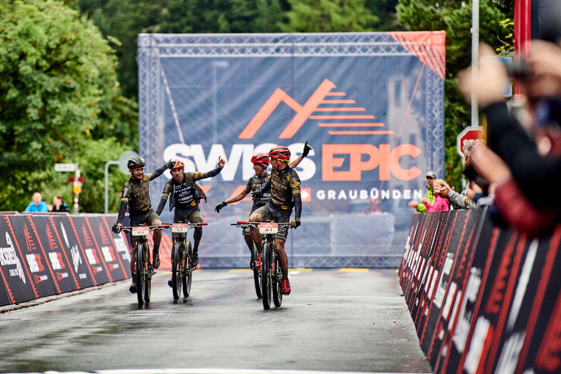 During Stage 1 of the 2019 Swiss Epic from Davos to St. Moritz, Graubünden, Switzerland on 20 August 2019. Michele CASAGRANDE, Fabian RABENSTEINER (1st) Samuele PORRO, Damiano FERRARO (2nd)  Photo by Marius Holler. PLEASE ENSURE THE APPROPRIATE CREDIT IS GIVEN TO THE PHOTOGRAPHER.