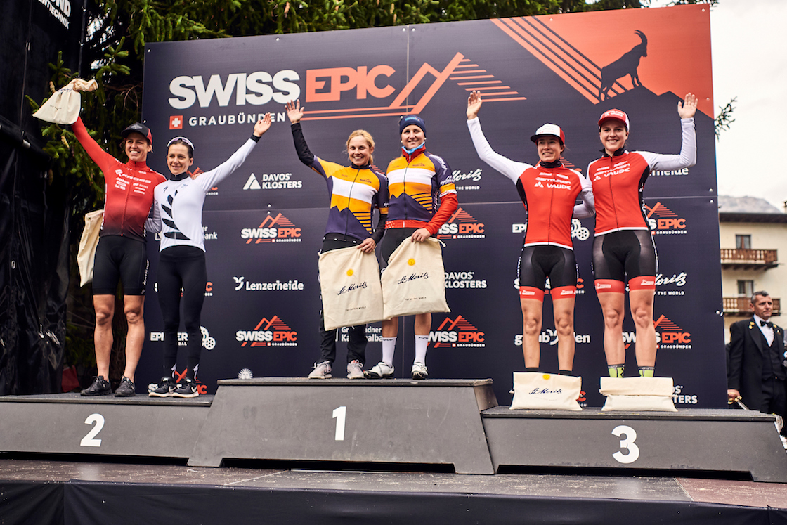 During Stage 1 of the 2019 Swiss Epic from Davos to St. Moritz, Graubünden, Switzerland on 20 August 2019. Kathrin STIRNEMANN, Corina GANTENBEIN (1st) Ariane LÜTHI, Samara SHEPPARD (2nd) Alice PIRARD, Stefanie DOHRN (3rd) Photo by Marius Holler