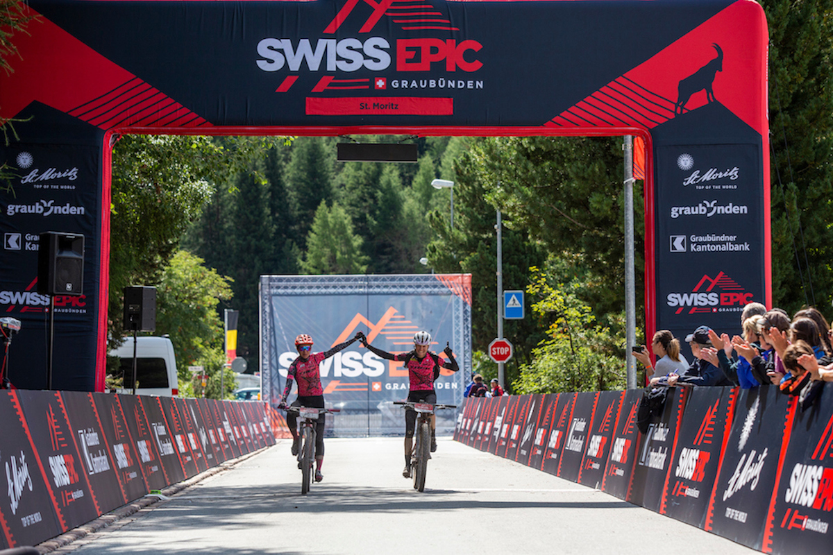 Adelheid MORATH and Bettina JANAS Win Stage 2 of the 2019 Swiss Epic from St Moritz to St Moritz, Graubünden, Switzerland on 21 August 2019. Photo by Sam Clark.