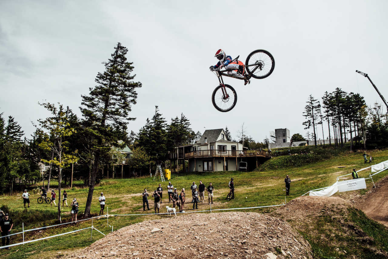 Kade Edwards performs at UCI DH World Cup in Snowshoe, USA on September 7th, 2019