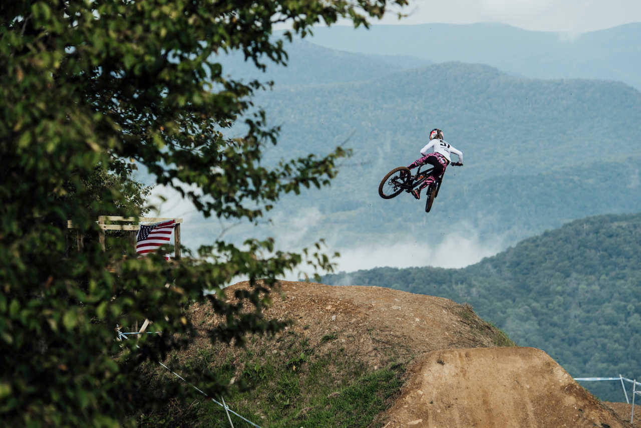 Riders perform at UCI DH World Cup in Snowshoe, USA on September 7th, 2019