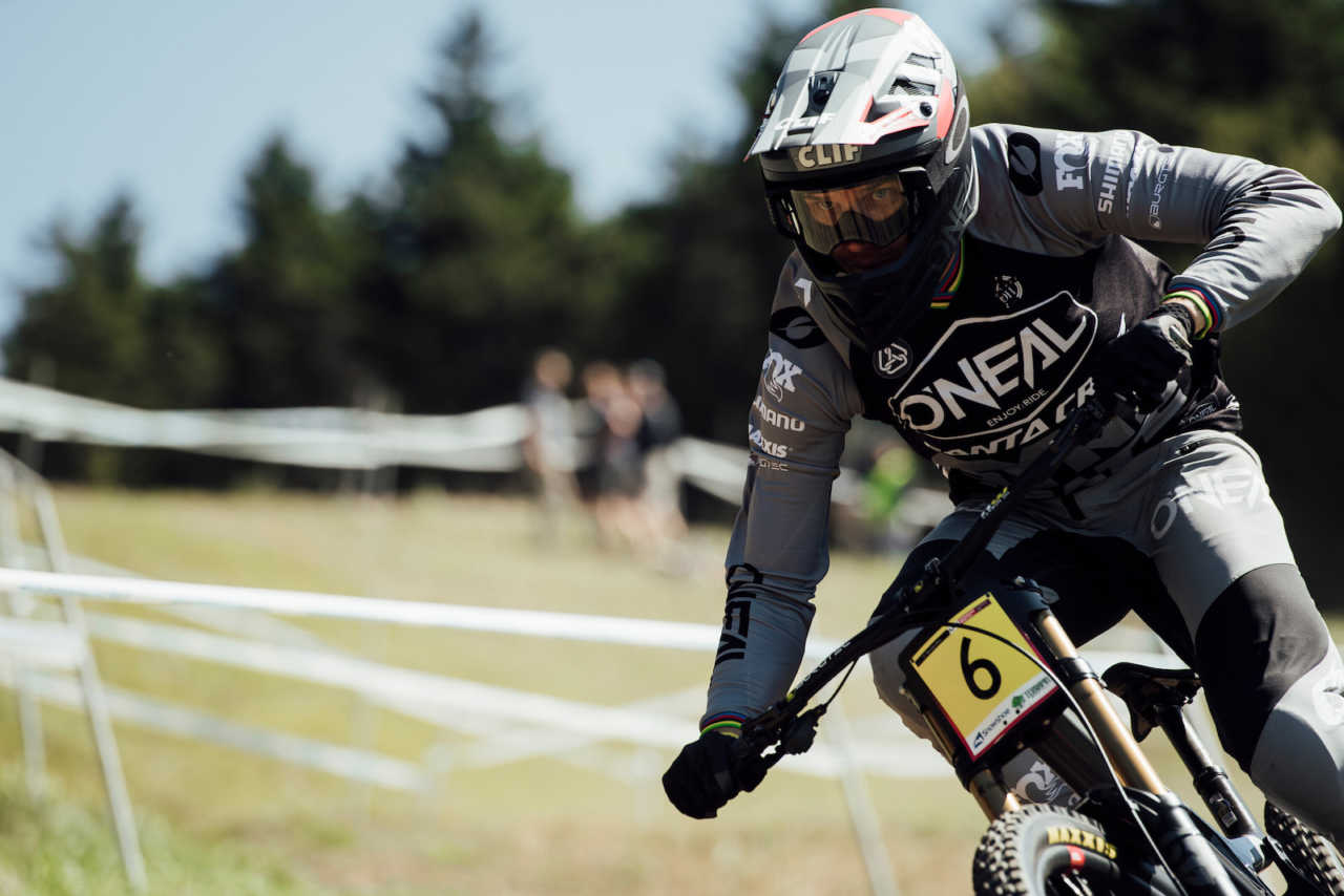 Greg Minnaar performs at UCI DH World Cup in Snowshoe, USA on September 7th, 2019
