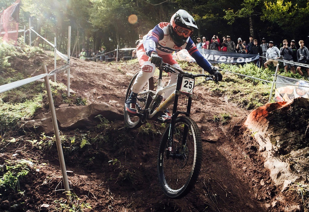 Charlie Harrison performs at UCI DH World Cup in Snowshoe, USA on September 7th, 2019