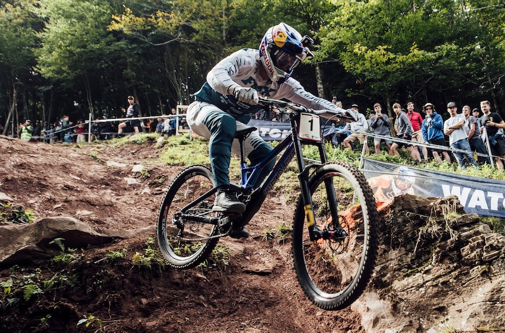 Loic Bruni performs at UCI DH World Cup in Snowshoe, USA on September 7th, 2019
