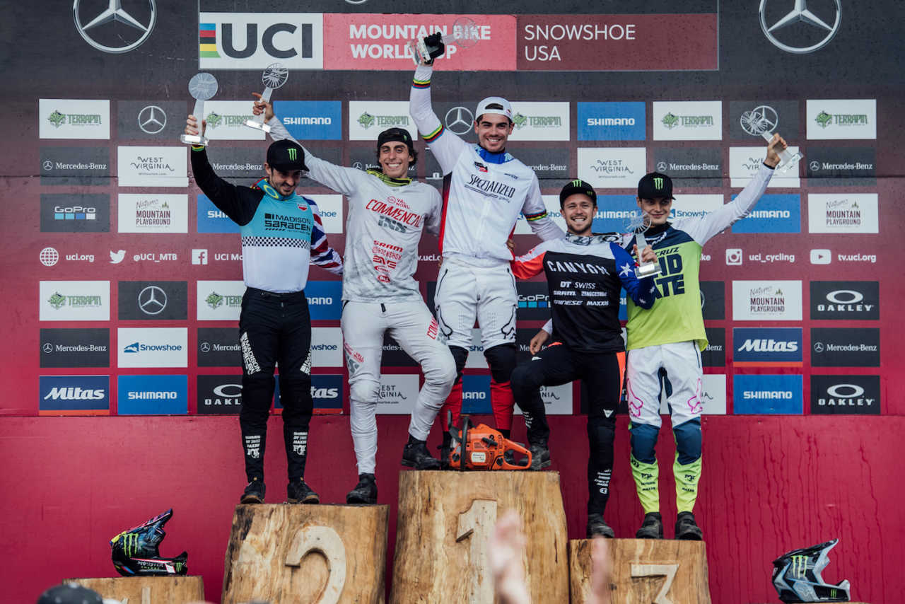 Competitors stand on the podium at UCI DH World Cup in Snowshoe, USA on September 7th, 2019