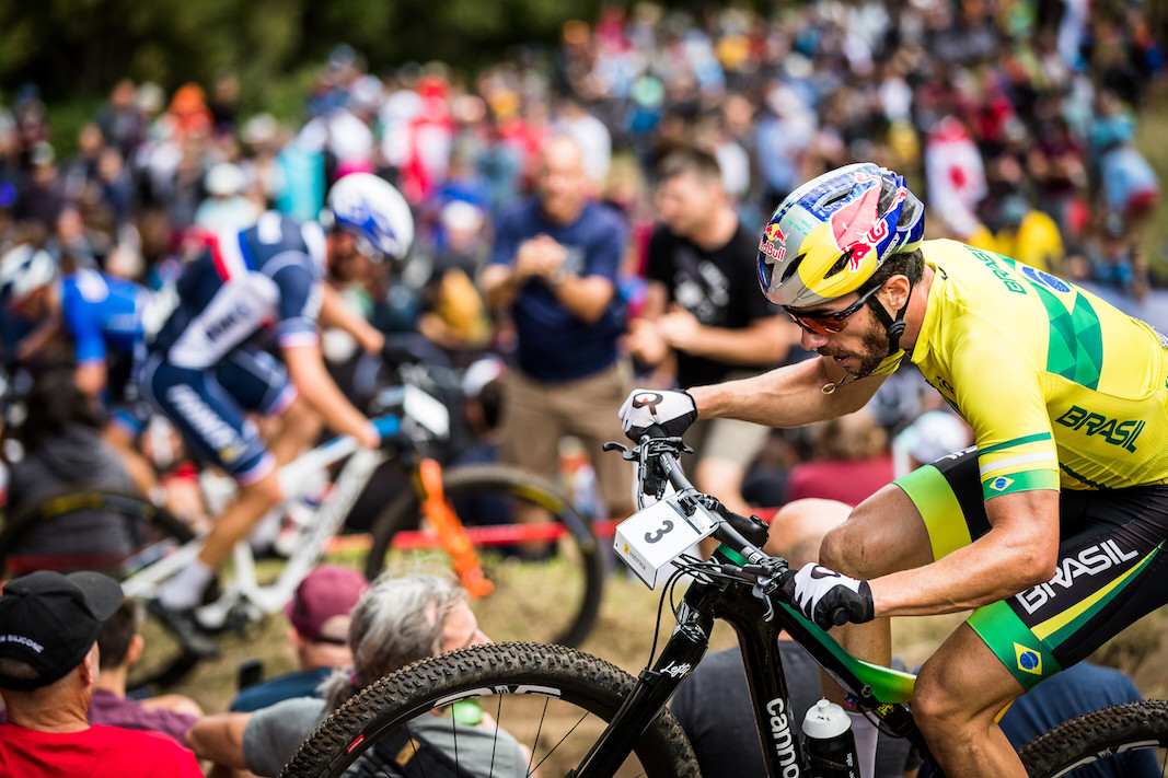 Riders at the UCI MTB XCO Elite Men World Championships Mont Saint Anne 2019