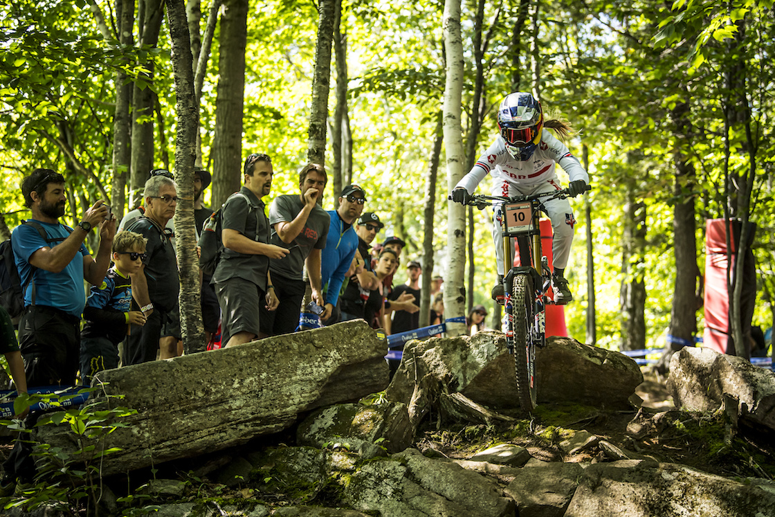 Riders performs at the UCI MTB World Championships 2019 in Mont-Sainte-Anne Canada.