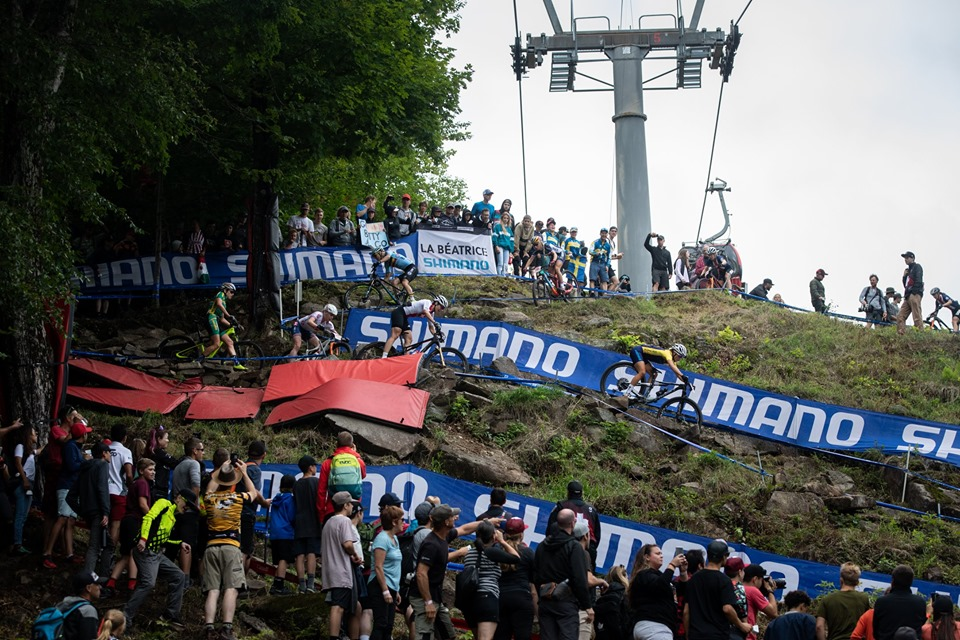 Action from the 2019 uci mountain bike world championships in monte-sainte-anne, quebec, canada on the 31st august 2019.