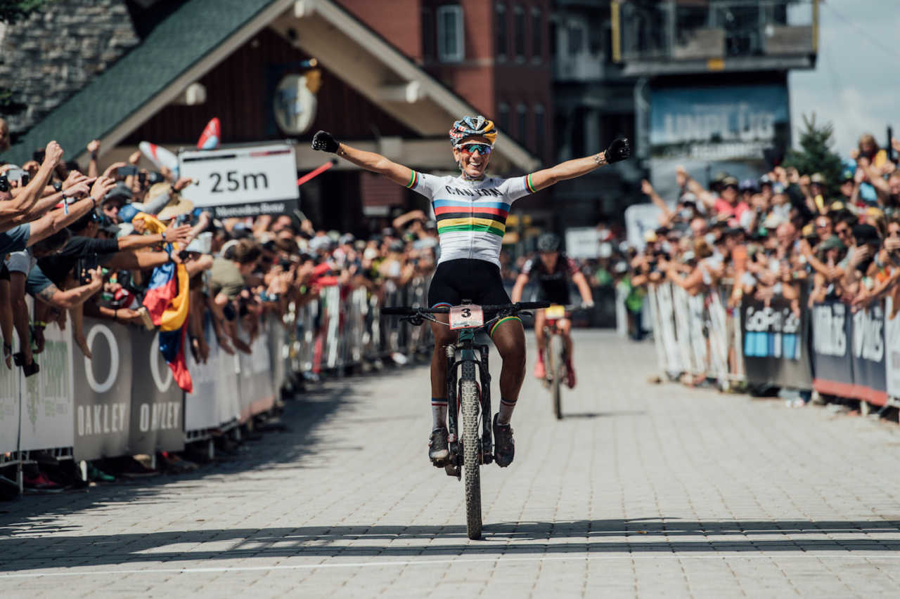 Riders perform at the UCI XCO World Cup in Snowshoe, USA on September 8th, 2019.