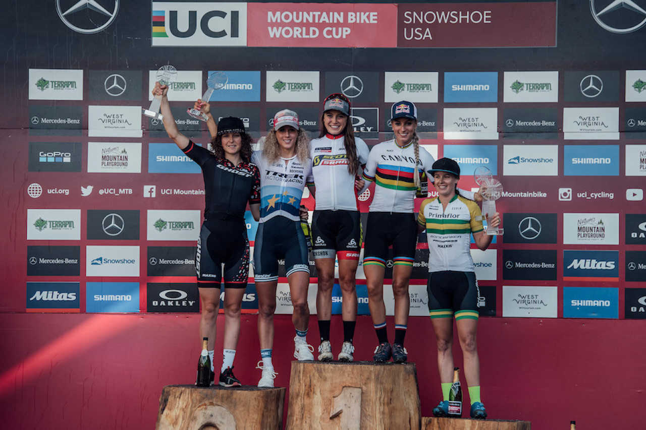 Competitors stand on the podium at UCI XCO World Cup in Snowshoe, USA on September 8th, 201