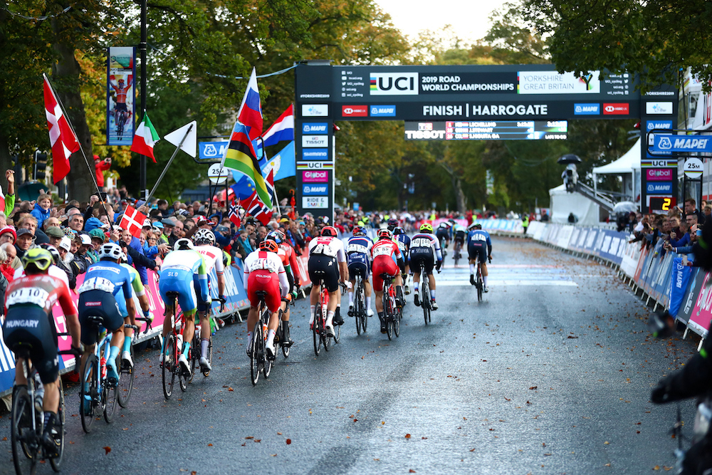 Riders participate at the UCI Road Cycling World Championships in Yorkshire on the 27th September 2019.