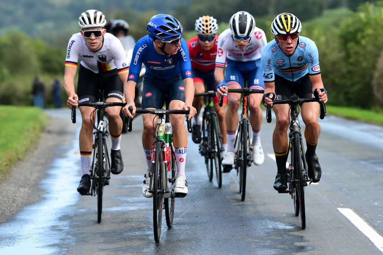 Riders participate at the 2019 UCI World road cycling championships in Yorkshire on the 26th of September 2019.