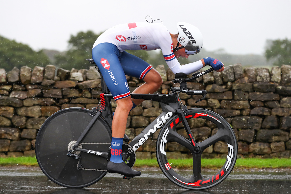 Riders participate at the individual time trial events at the 2019 UCI Road Cycling World Championships in Yorkshire, England on the 24th of September 2019.