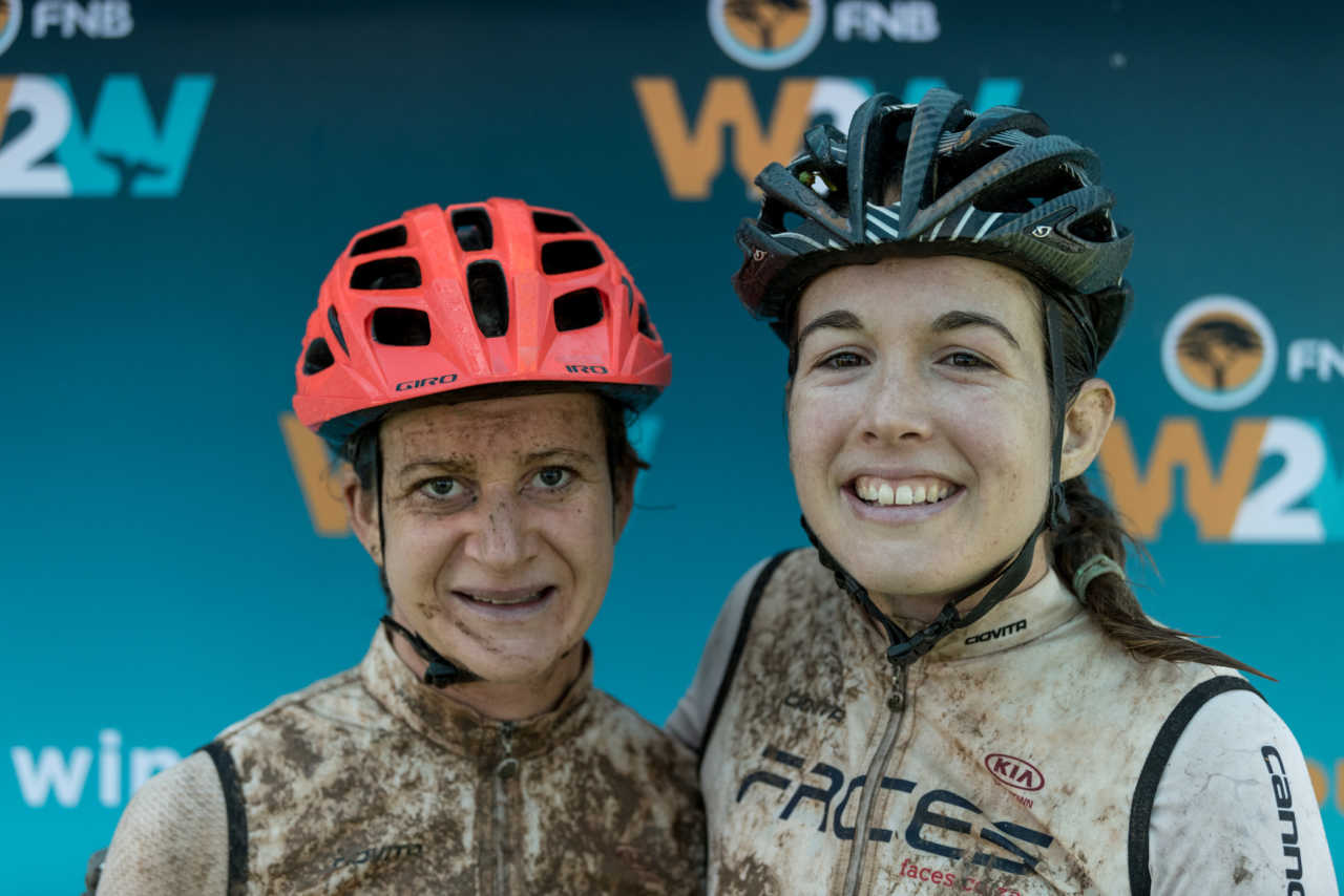 Candice Lill and Adelheid Morath from team Facesduring the 2019 FNB Wine2Whales Chardonnay 3 day mountain bike event stage1 from Lourensford to Oak Valley. Image by Xavier Briel