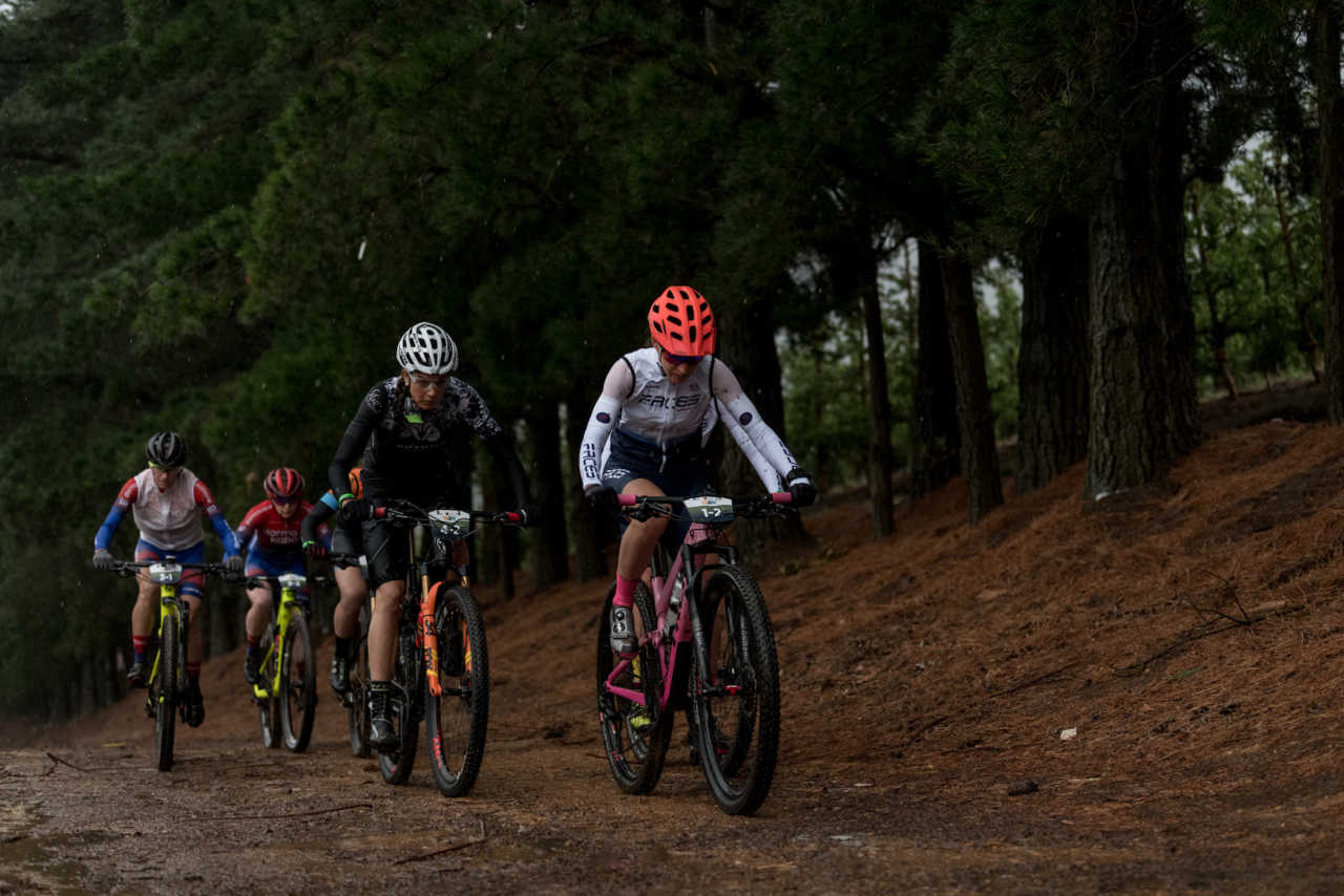 Riders during the 2019 FNB Wine2Whales Chardonnay 3 day mountain bike event stage1 from Lourensford to Oak Valley. Image by Xavier Briel
