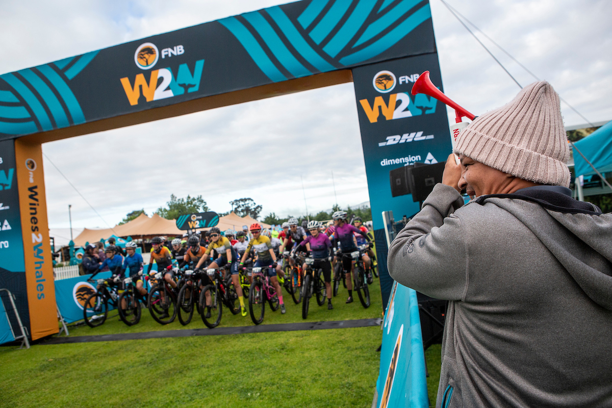 The ladies under starting orders during the 2019 FNB Wine2Whales Chardonnay 3 day mountain bike event stage 2 from Oak Valley to Oak Valley. Image by Nick Muzik