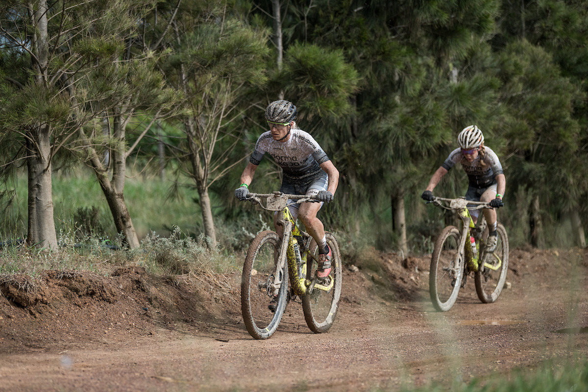 Amy Beth McDougall and Robyn de Groot from team Dormakaba during the 2019 FNB Wine2Whales Chardonnay 3 day mountain bike event stage2 from Oak Valley to Oak Valley. Image by Xavier Briel
