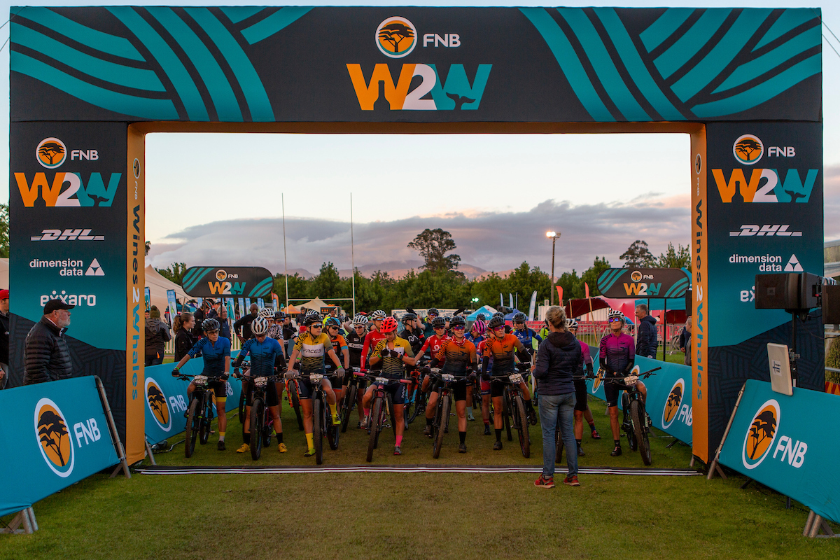 Riders during the 2019 FNB Wine2Whales Chardonnay 3 day mountain bike event stage 3 from Oak Valley to Onrus. Image by Nick Muzik