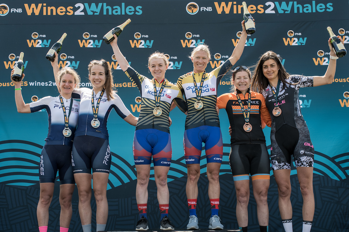 Womens podium at the 2019 FNB Wine2Whales Chardonnay 3 day mountain bike event stage3 from Oak Valley to Onrus. Image by Xavier Briel