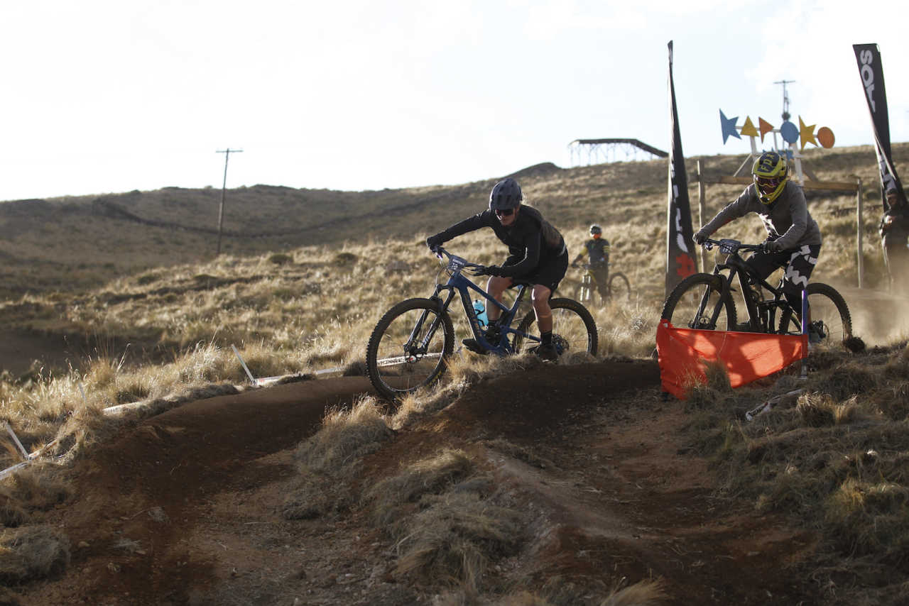 Riders in action at the 2019 Crankchaos dual eliminator at the afriski resort in lesotho on 31 October 2019.