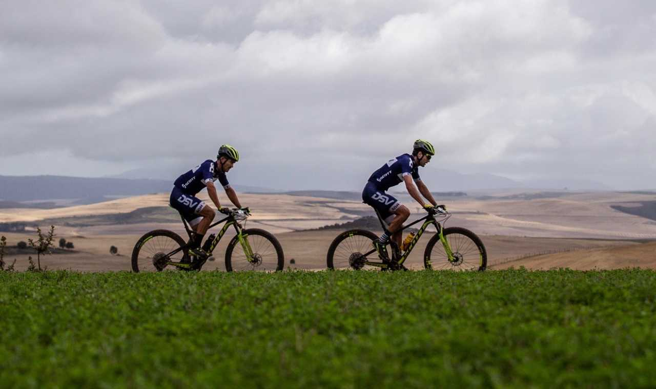 Matthys Beukes from team Pyga Eurosteel during the 2019 FNB Wine2Whales Shiraz 3 day mountain bike event stage3 from Oak Valley to Onrus. Image by Xavier Briel