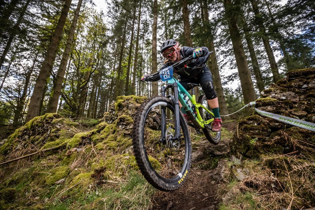 Frankie du Toit on her Trek Slash enduro mountain bike with 29 inch wheels.