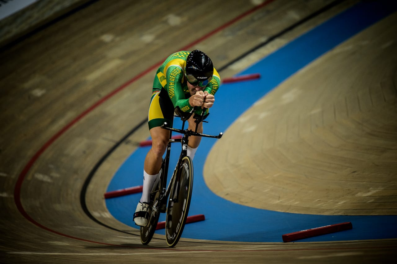 Jean spies track cyclist from south africa at the uci track cycling world cup in 2019.