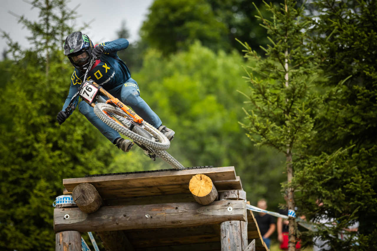 South African downhill mountain bike rider Theo Erlangsen in action at the UCI Mountain Bike World Cup in Les Gets France in 2019