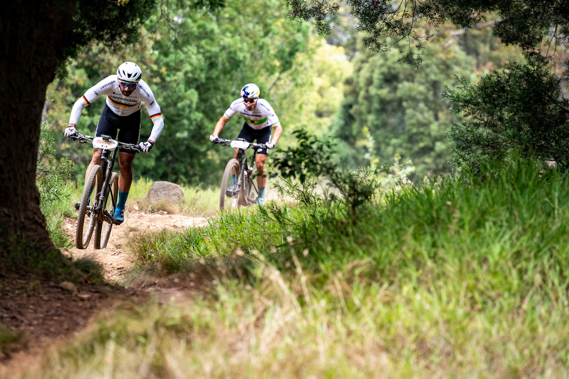 Manuel Fumic and Henrique Avancini of Cannondale Factory Racing during the Prologue of the 2019 Absa Cape Epic Mountain Bike stage race held at the University of Cape Town in Cape Town, South Africa on the 17th March 2019. Photo by Nick Muzik/Cape Epic PLEASE ENSURE THE APPROPRIATE CREDIT IS GIVEN TO THE PHOTOGRAPHER AND ABSA CAPE EPIC