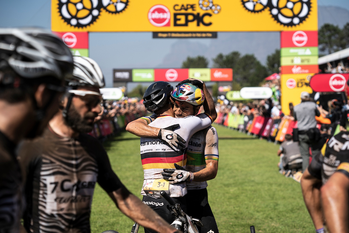 Henirique Avancini and Manuel Fumic of Cannondale Factory Racing celebrate second place during the final stage (stage 7) of the 2019 Absa Cape Epic Mountain Bike stage race from the University of Stellenbosch Sports Fields in Stellenbosch to Val de Vie Estate in Paarl, South Africa on the 24th March 2019. Photo by Nick Muzik/Cape Epic PLEASE ENSURE THE APPROPRIATE CREDIT IS GIVEN TO THE PHOTOGRAPHER AND ABSA CAPE EPIC