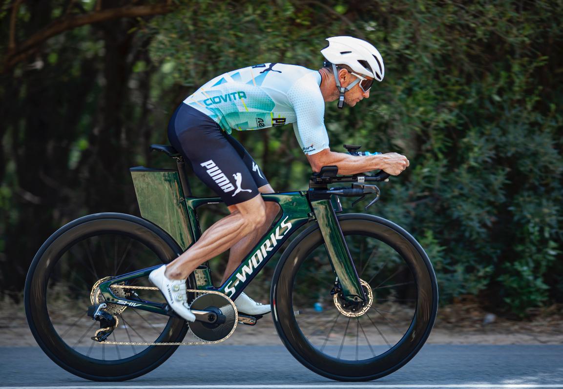 World Champion Bradley Weiss Specialized S-Works SHIV SRAM RED eTap AXS triathlon bike. Bike Check by Bike Network. Image Ray Cox
