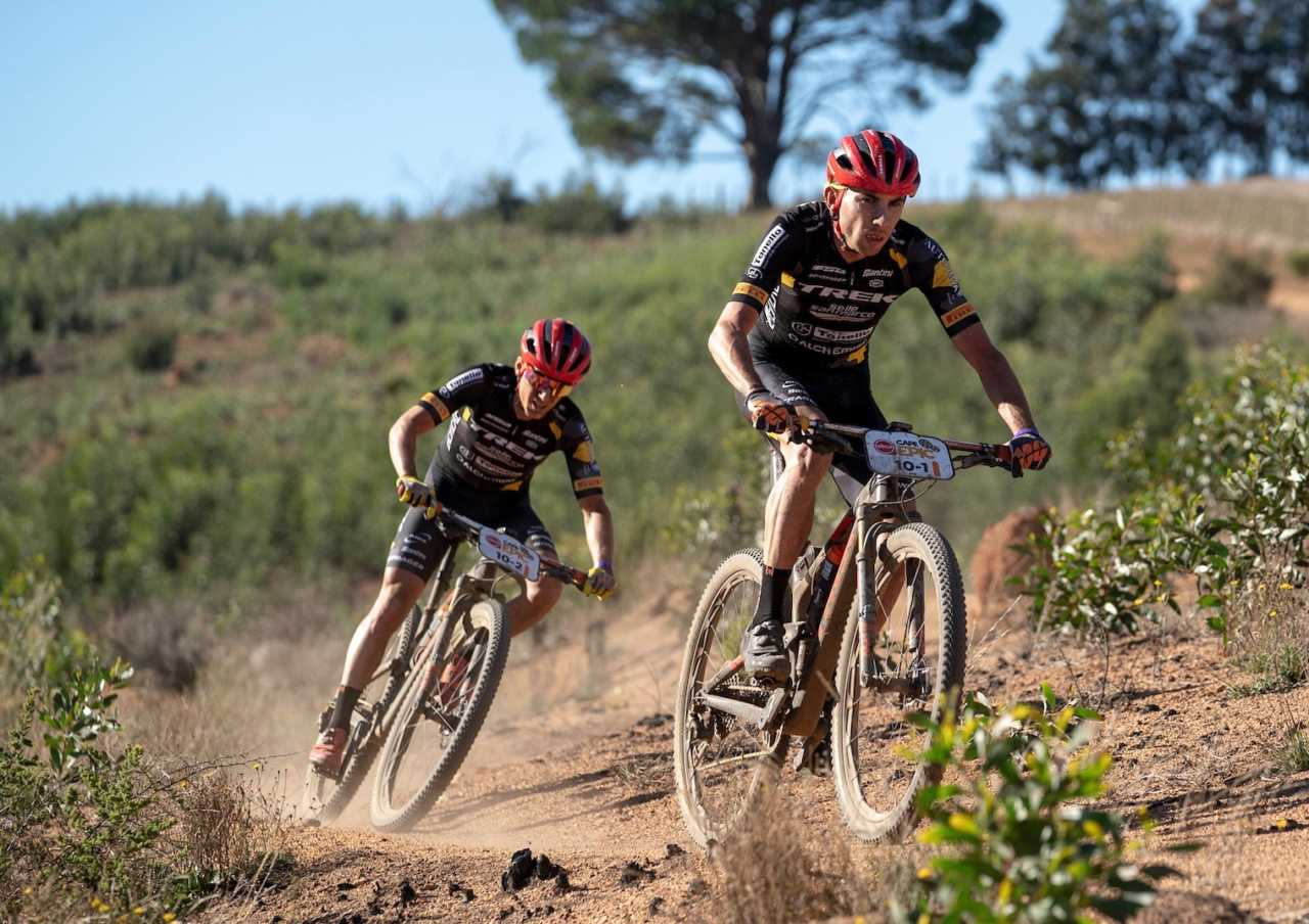 Damiano Ferraro and Samuele Porro of Trek Selle San Marco lead the race during stage 6 of the 2019 Absa Cape Epic Mountain Bike stage race from the University of Stellenbosch Sports Fields in Stellenbosch, South Africa on the 23rd March 2019