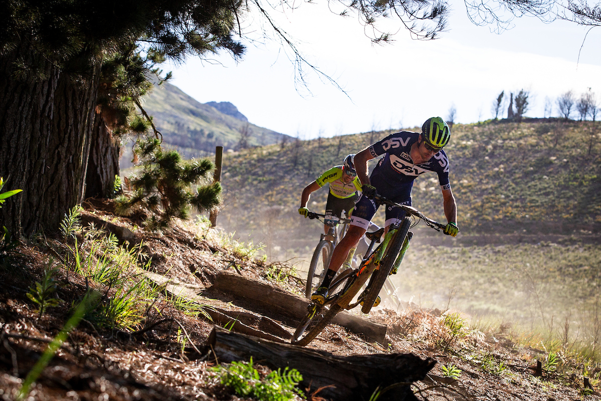 Gert Heyns in action during the 2019 FNB Wines2whales mountain bike event in Oak Valley.