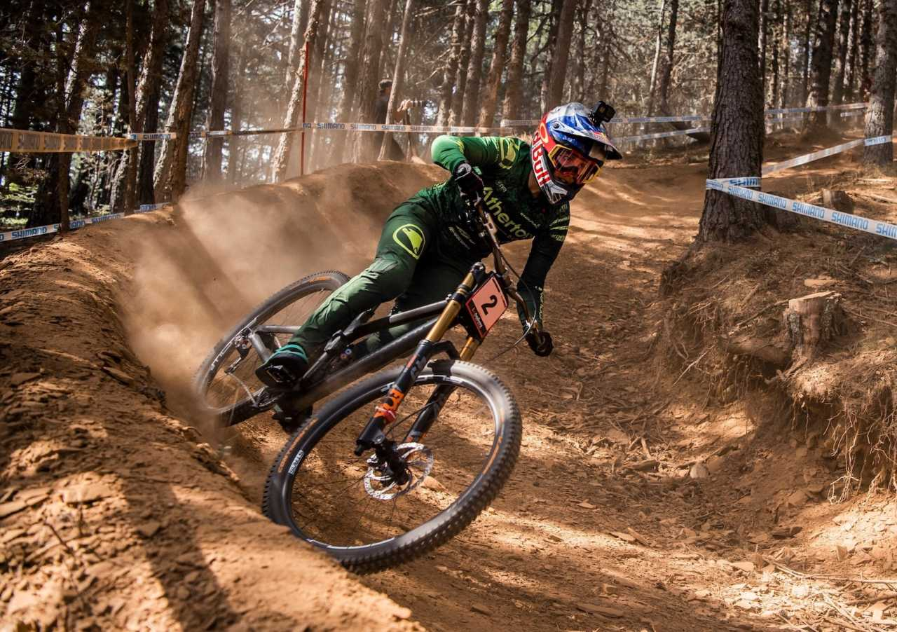 Rachel Atherton performs at UCI DH World Cup in Vallnord, Andorra on July 6th, 2019 // Bartek Wolinski/Red Bull Content Pool