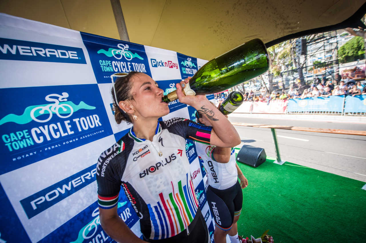 Cherise Willeit celebrates after winning the 2020 cape town cycle tour in south africa.