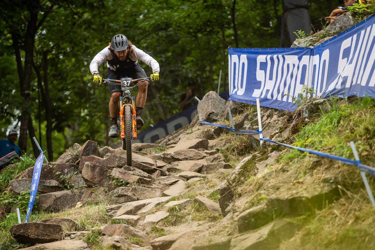 Wyn Masters at the 2019 UCI eMTB World Championships in mont sainte anne canada.